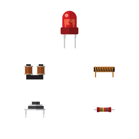 Flat Icon Appliance Set Of Coil Copper, Resistance, Recipient And Other Vector Objects. Also Includes Resistance, Resistor, Bobbin Elements. Illustration