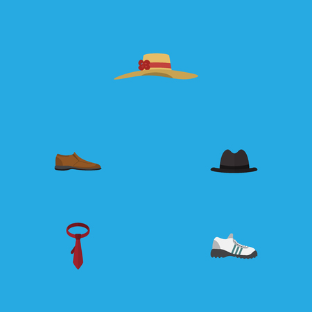 Flat Icon Garment Set Of Sneakers, Elegant Headgear, Cravat And Other Vector Objects. Also Includes Gumshoes, Panama, Necktie Elements.