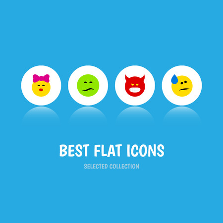 Flat Icon Face Set Of Pouting, Tears, Frown And Other Vector Objects. Also Includes Emoji, Sad, Angry Elements.