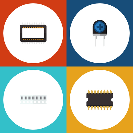 Flat Icon Technology Set Of Mainframe, Microprocessor, Transducer And Other Vector Objects. Also Includes Transistor, Memory, Recipient Elements.