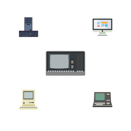 Flat Icon Laptop Set Of Vintage Hardware, Display, Processor And Other Vector Objects. Also Includes Computing, Monitor, Processor Elements.