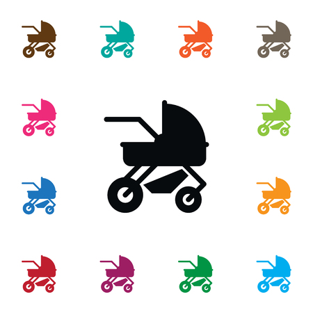 Isolated Perambulator Icon. Carriage Vector Element Can Be Used For Perambulator, Carriage, Pram Design Concept.