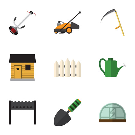 Flat Icon Farm Set Of Grass-Cutter, Wooden Barrier, Hothouse And Other Vector Objects. Also Includes Farmhouse, Scythe, Hothouse Elements.