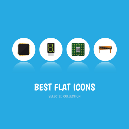 Flat Icon Electronics Set Of Bobbin, Cpu, Unit And Other Vector Objects. Also Includes Display, Processor, Microprocessor Elements.