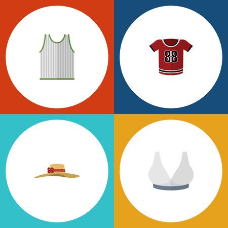 Robe icône plate Ensemble de couvre-chef élégant, singulet, t-shirt et autres objets vectoriels. Comprend également des éléments de chemisier, sans manches et pour singulet. Banque d'images - 82722938