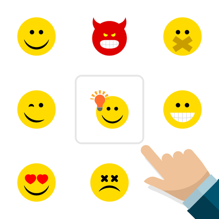 Flat Icon Gesture Set Of Have An Good Opinion, Pouting, Cross-Eyed Face And Other Vector Objects. Also Includes Silent, Hush, Grin Elements. Çizim