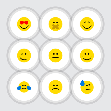 Flat Icon Emoji Set Of Smile, Displeased, Hush And Other Vector Objects. Also Includes Smile, Silent, Hush Elements.
