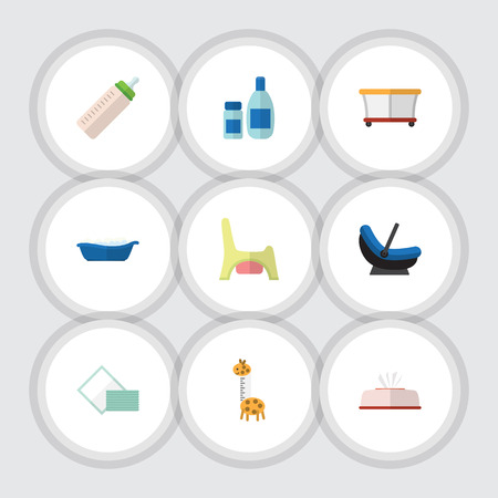 Flat Icon Child Set Of Playground, Napkin, Pram And Other Vector Objects. Also Includes Toilet, Cream, Toy Elements.