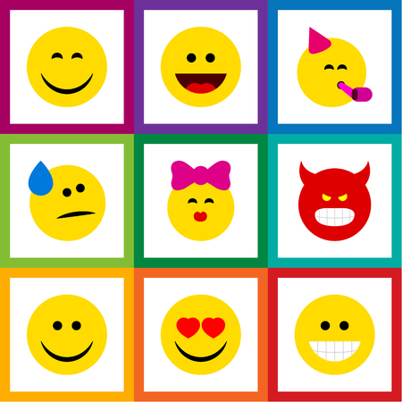 Flat Icon Emoji Set Of Pouting, Party Time Emoticon, Laugh And Other Vector Objects. Also Includes Tears, Fun, Laugh Elements.