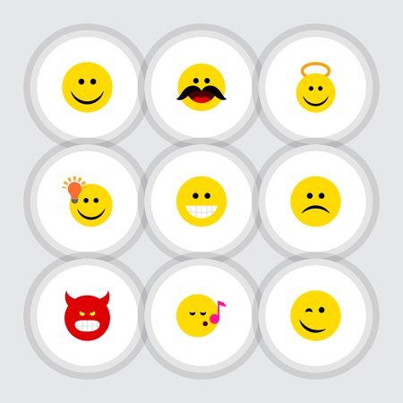 Flat Icon Expression Set Of Descant, Joy, Cheerful And Other Vector Objects. Also Includes Emoji, Happy, Grin Elements. Illustration