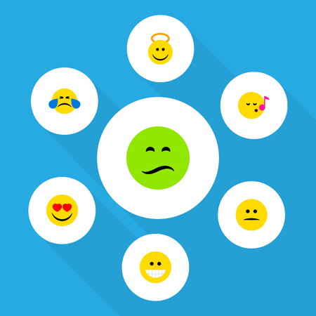 Flat Icon Face Set Of Grin, Displeased, Love And Other Vector Objects. Also Includes Emoji, Heart, Angel Elements. Illustration