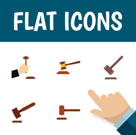 Flat Icon Lawyer Set Of Justice, Defense, Law And Other Vector Objects. Also Includes Law, Tribunal, Hammer Elements.