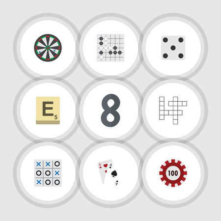 Flat Icon Entertainment Set Of Poker, Mahjong, Gomoku And Other Vector Objects. Also Includes Arrow, Chip, Mahjong Elements. Illustration