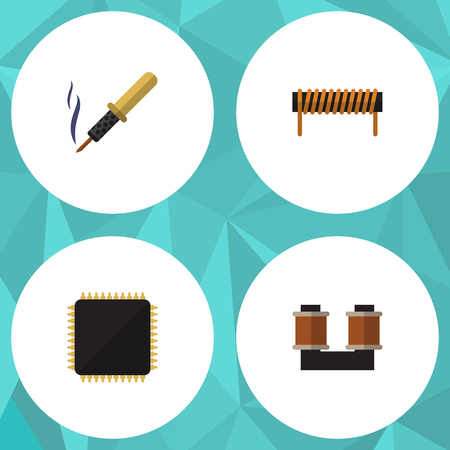 Flat Icon Technology Set Of Cpu, Coil Copper, Repair And Other Vector Objects. Also Includes Spool, Copper, Bobbin Elements. Illustration