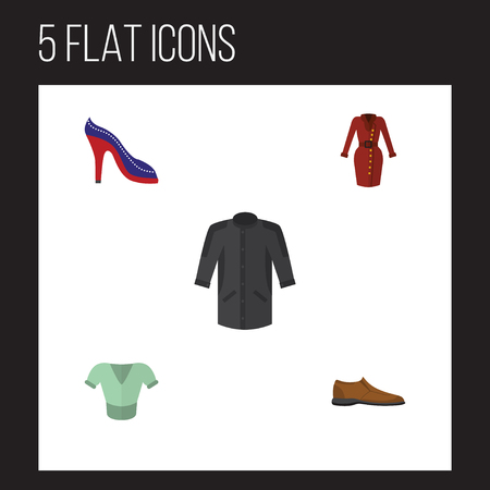 Flat Icon Clothes Set Of Uniform, Male Footware, Casual And Other Vector Objects. Also Includes Heeled, Footware, Man Elements.