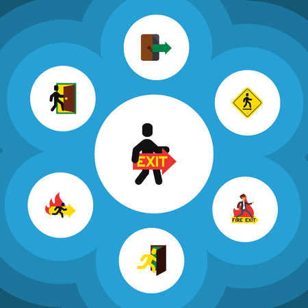 doorknob: Flat Icon Emergency Set Of Evacuation, Fire Exit, Emergency And Other Vector Objects. Also Includes Exit, Board, Evacuation Elements.