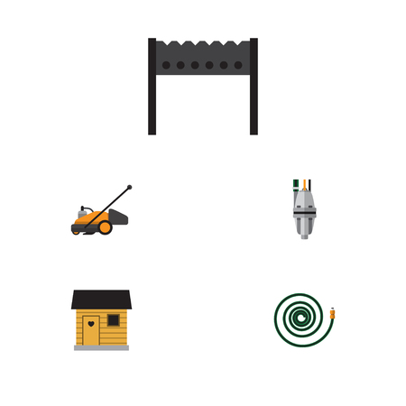 Flat Icon Garden Set Of Hosepipe, Barbecue, Pump And Other Vector Objects. Also Includes Tool, Mower, Barn Elements.