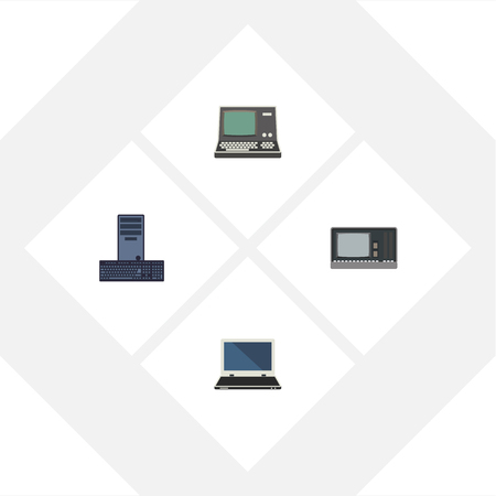 Flat Icon Laptop Set Of Processor, Vintage Hardware, Notebook And Other Vector Objects. Also Includes Computer, Notebook, Processor Elements.