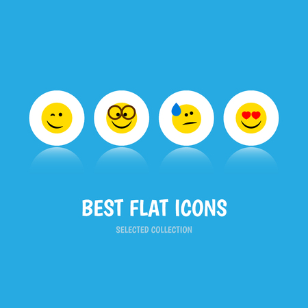 quandary: Flat Icon Expression Set Of Love, Winking, Tears And Other Vector Objects. Also Includes Eyeglasses, Smile, Winking Elements. Illustration