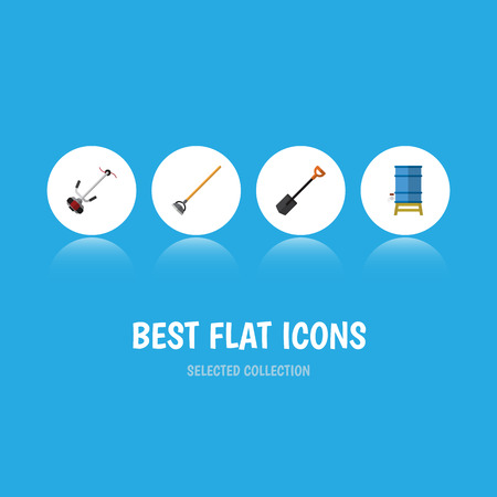 Flat Icon Dacha Set Of Tool, Grass-Cutter, Container And Other Vector Objects. Also Includes Lawn, Tank, Water Elements.