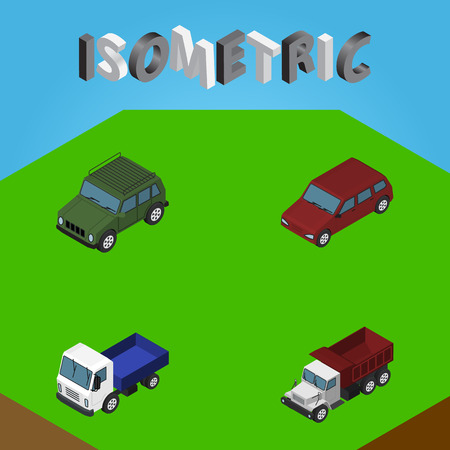 Isometric Transport Set Of Armored, Freight, Car And Other Vector Objects. Also Includes Drive, Car, Lorry Elements. Illustration