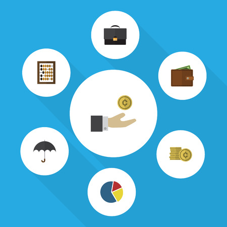 Flat Icon Incoming Set Of Hand With Coin, Counter, Parasol Vector Objects. Also Includes Portfolio, Billfold, Cash Elements.
