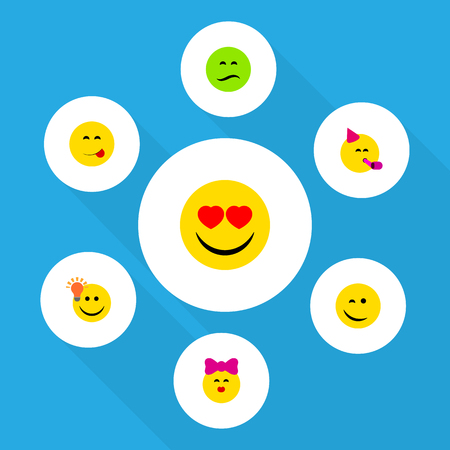 Flat Icon Gesture Set Of Love, Frown, Party Time Emoticon And Other Vector Objects. Also Includes Idea, Kiss, Eyes Elements.