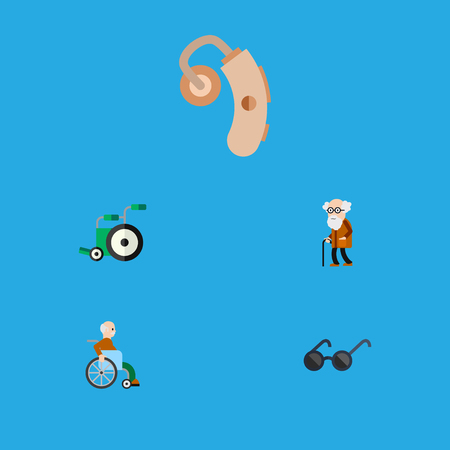 Flat Icon Cripple Set Of Handicapped Man, Spectacles, Audiology Vector Objects. Also Includes Disabled, Spectacles, Aid Elements.