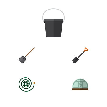 Flat Icon Farm Set Of Pail, Hosepipe, Spade And Other Vector Objects. Also Includes Tool, Greenhouse, Hose Elements.