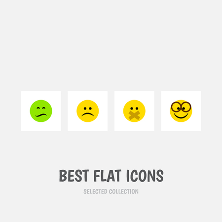 Flat Icon Face Set Of Sad, Frown, Hush And Other Vector Objects. Also Includes Hush, Frown, Smile Elements.