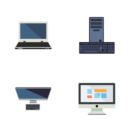 computerized: Flat Icon Laptop Set Of Notebook, PC, Display And Other Vector Objects. Also Includes Personal, Keyboard, Processor Elements. Illustration