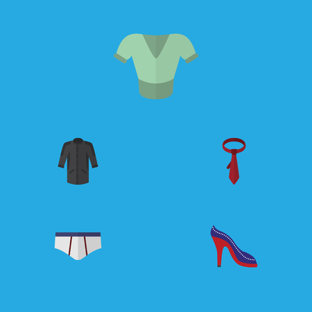 Flat Icon Clothes Set Of Uniform, Underclothes, Cravat And Other Vector Objects. Also Includes Tie, Uniform, Sandal Elements. Illustration