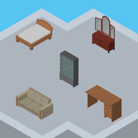 Isometric Design Set Of Drawer, Couch, Sideboard And Other Vector Objects. Also Includes Desk, Cabinet, Settee Elements. Illustration