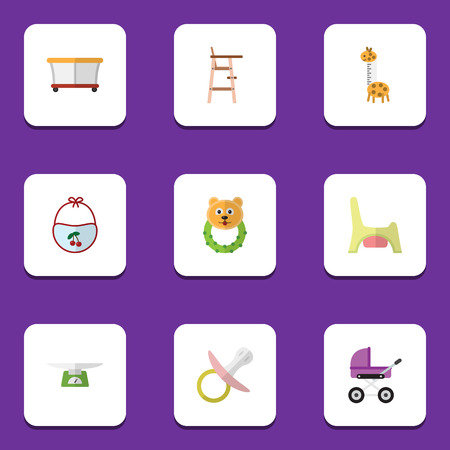 Flat Icon Child Set Of Nipple, Toilet, Child Chair And Other Vector Objects. Also Includes Rattle, Child, Toilet Elements. Illusztráció