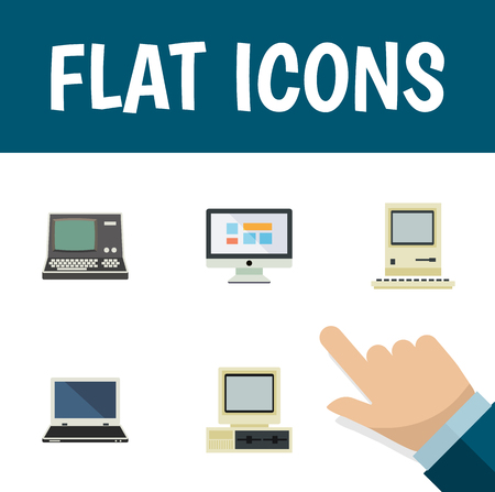 computerized: Flat Icon Computer Set Of Display, Technology, Computer And Other Vector Objects. Also Includes Screen, PC, Notebook Elements. Illustration