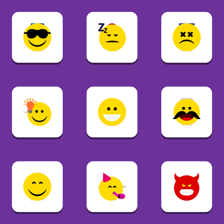 Flat Icon Expression Set Of Smile, Pouting, Happy And Other Vector Objects. Also Includes Fun, Smile, Whiskers Elements.