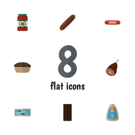 Flat Icon Food Set Of Tart, Meat, Smoked Sausage And Other Vector Objects. Also Includes Chicken, Tuna, Fish Elements.