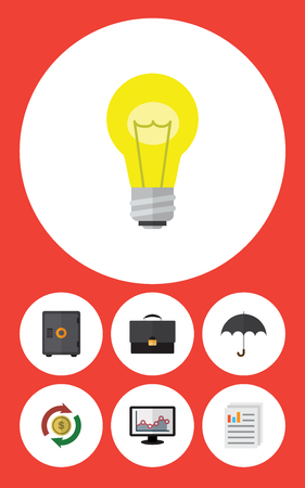 energy work: Flat Icon Gain Set Of Interchange, Document, Strongbox And Other Vector Objects. Also Includes Monitor, Bank, Diplomat Elements. Illustration