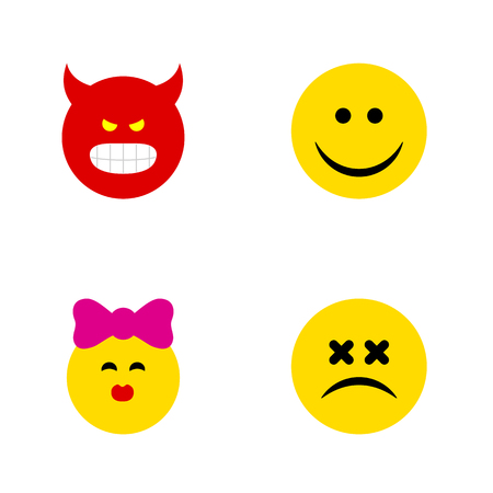 enraged: Flat Icon Face Set Of Cross-Eyed Face, Joy, Pouting And Other Vector Objects. Also Includes Face, Kiss, Emoji Elements.
