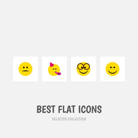 Icono plano conjunto de gestos de disgustado, Party Time Emoticon, agradable y otros objetos vectoriales. También incluye disgustado, diversión, elementos de fiesta.