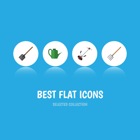 Flat Icon Farm Set Of Shovel, Hay Fork, Bailer And Other Vector Objects. Also Includes Lawn, Tool, Shovel Elements.