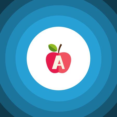 vitamin e: Isolated Apple Flat Icon. Vitamin A Vector Element Can Be Used For Vitamin, A, App, E Design Concept.