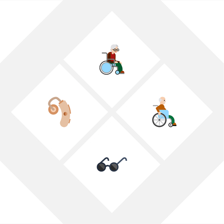 impaired: Flat Icon Handicapped Set Of Spectacles, Handicapped Man, Wheelchair Vector Objects. Also Includes Hearing, Eyeglasses, Handicapped Elements. Illustration