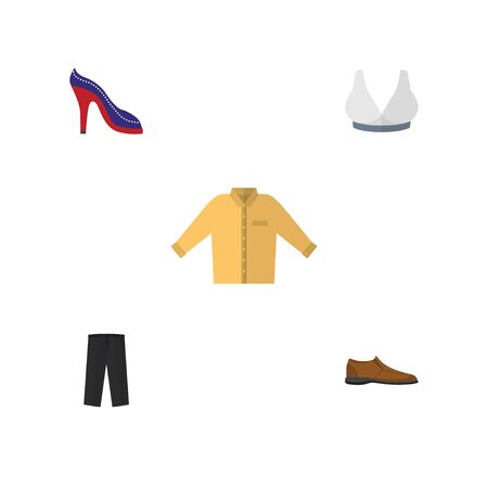 Flat Icon Dress Set Of Brasserie, Banyan, Pants And Other Vector Objects. Also Includes Shoe, Sport, Heeled Elements.