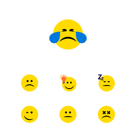Flat Icon Face Set Of Cold Sweat, Have An Good Opinion, Displeased And Other Vector Objects. Also Includes Smile, Emoticon, Face Elements. Illustration