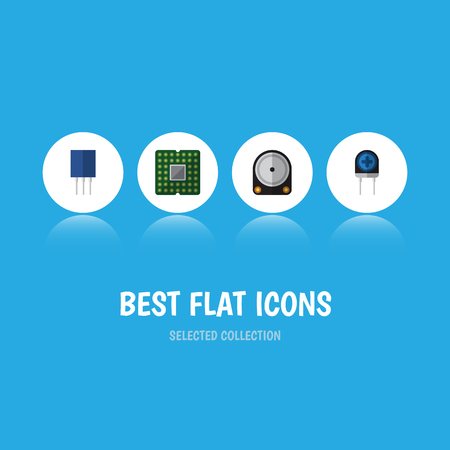 Flat Icon Device Set Of Receptacle, Transducer, Unit And Other Vector Objects. Also Includes Recipient, Unit, Transistor Elements.