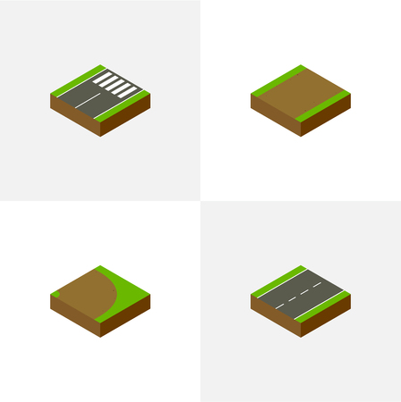 Isometric Road Set Of Driveway, Footpath, Rotation And Other Vector Objects. Also Includes Driveway, Pedestrian, Rotation Elements.