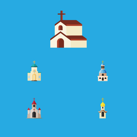 Flat Icon Christian Set Of Structure, Church, Traditional And Other Vector Objects. Also Includes Religion, Architecture, Faith Elements.