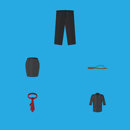 Flat Icon Dress Set Of Cravat, Pants, Beach Sandal Vector Objects. Also Includes Skirt, Tie, Sandal Elements.