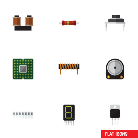 Flat Icon Technology Set Of Hdd, Coil Copper, Resistance And Other Vector Objects. Also Includes Display, Coil, Transistor Elements.
